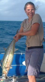Amanda lands a double-lined mackerel