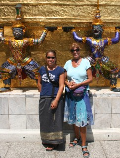With Mom, inside the Palace area