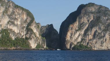 Maya Bay becomes visible as you approach Phi Phi Le
