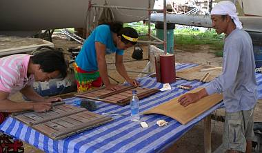Lek and his sometimes minions, dressing up our teak work