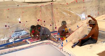 Building more of the spray-tent over the starboard side-deck