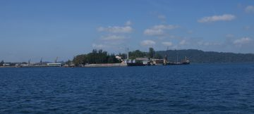 Port Blair yacht anchorage is ahead on right, after passing Phoenix Bay and Chatham Is.