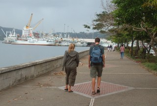 Chris and Amanda on the seaside promenade, Suva