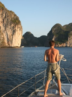 Chris prepping mooring lines as we approach Phi Phi Le, Thailand