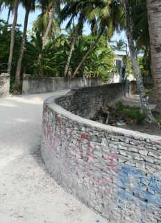 Typical curved coral walls in town