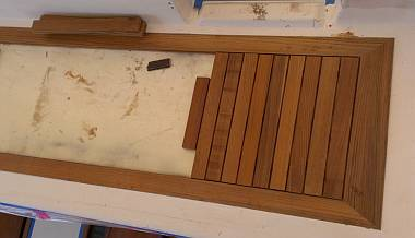 Houa started cutting teak strips for Ocelot's aft-deck