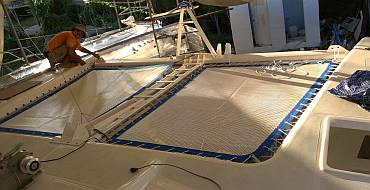 Starboard trampoline laced tight, port still unstrung
