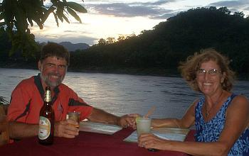Our 35th anniversary dinner, over the Mekong
