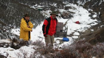 Cold morning on the hill above Dzongri campsite, Sikkim, India