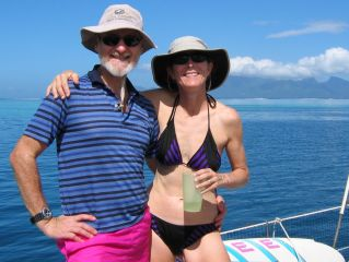 Karen & Jon, sailing to Moorea
