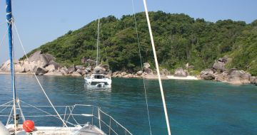 On moorings, in gorgeous Ko Bangu, Similans