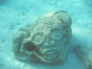 One of more than a dozen underwater stone Tikis in Moorea