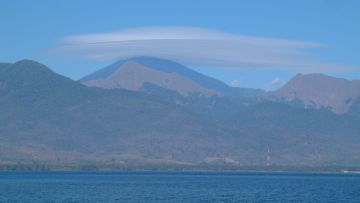 Great volcano view from Gili Lawang anchorag, Lombok, Indonesia