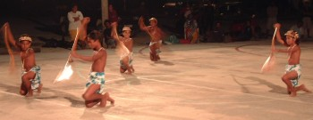 Makemo boys dancing, choreographed as canoe paddling