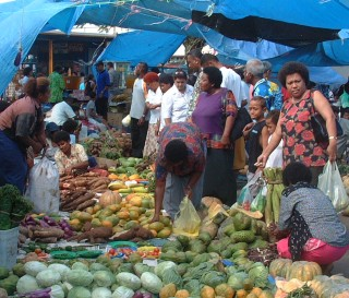 Typical scene outside the Suva market