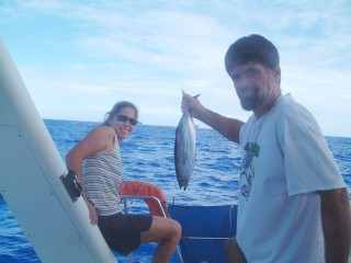 We caught one tuna as we left Maupiti. It made a little more than 2 meals, and we didn't catch any more for the rest of the passage.