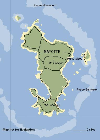 Map of Mayotte, Comoros Islands. Not for Navigation