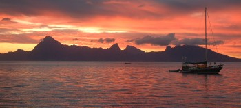 Moorea at sunset, seen from western Tahiti
