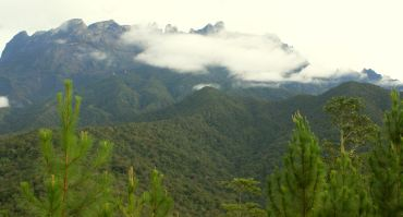 Cloudy, rugged peak of Mt Kinabalu, from Rose Cabin