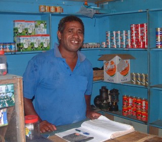 The store keeper in Nalauwaki village, Waya