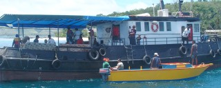 An inter-island cargo boat bringing passengers and goods to the Yasawas.