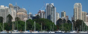 The yachts, Botanic Gardens, & downtown Brisbane