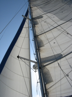 Under full sail in the Indian Ocean
