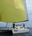 Ocelot sailing with her new (to us) spinnaker!