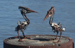 "Cute folk ""junk-art"" of 2 pelicans in Brisbane"