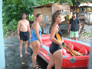 Rafters Alan, Sharon, Amanda, and Jon just pulled from the river in a thunder storm