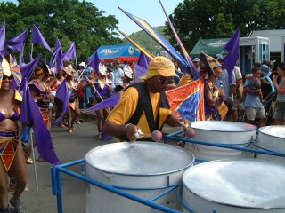 Steel bands and brightly costumed parades