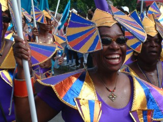 Carnival parades often feature lots of wild costumes