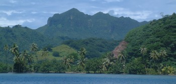 Beautiful coastline of Raiatea.