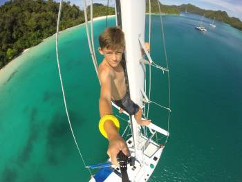 Our nephew, Rainer, loves to climb the mast!