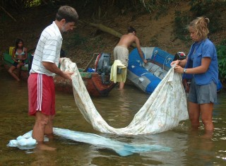 Rinsing the salt out of everything up a San Blas river