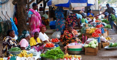 Roadside greens market in Mayotte