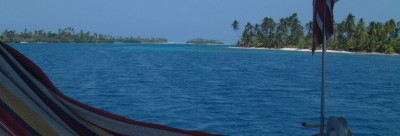 Looking past our hammock as we sail through the San Blas islands