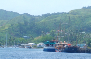 Small cruise ships at the Savusavu dock