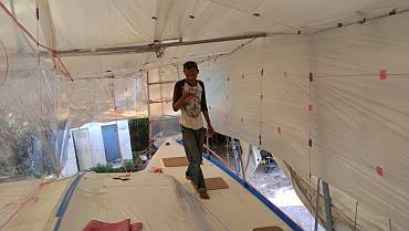 Baw's new spray tent over the starboard side-deck