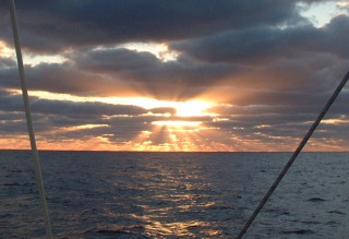 We never tire of sunrises or sunsets at sea