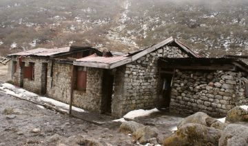 Thangsing hut ravaged by wind, rock,and snow. Sikkim, India