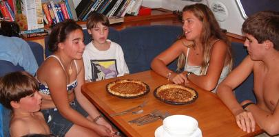 Daniel, Tianna, Sean, Amanda & Chris checking Tianna's birthday pies