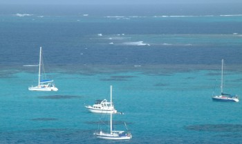 Ocelot (on the left) anchored in Tobago Cays