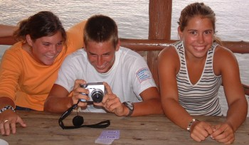 "At Jaks: ""Water Baby"" Ashley in orange, Benny from Tween holding camera"