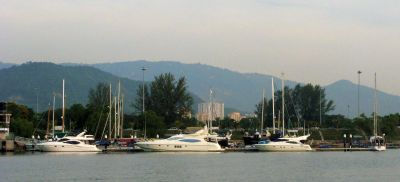 Anchorage off small yacht club south of Penang Bridge