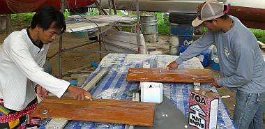 Yando & Heru continuing work on the rounded cabinet doors